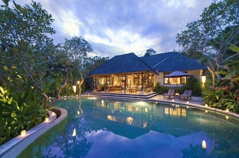 Gardens and Pool at Night - Villa Frangipani - Canggu, Bali