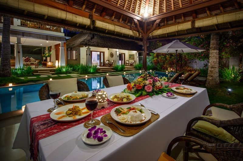 Pool Side Dining - Villa Gils - Candidasa, Bali
