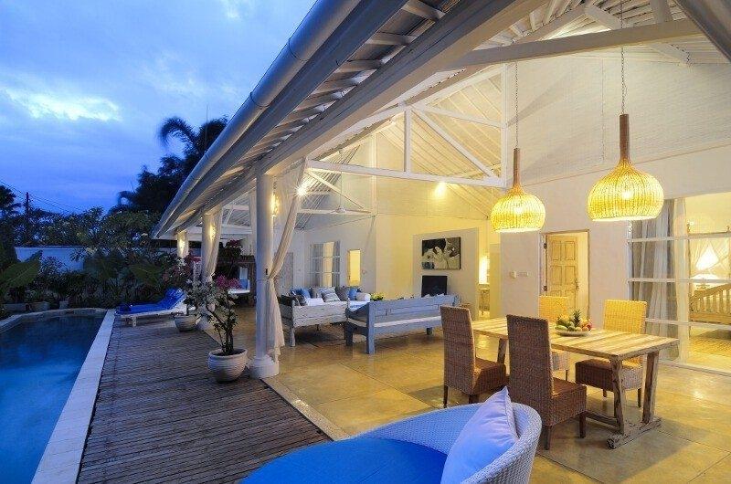 Living and Dining Area at Night - Villa Jolanda - Seminyak, Bali