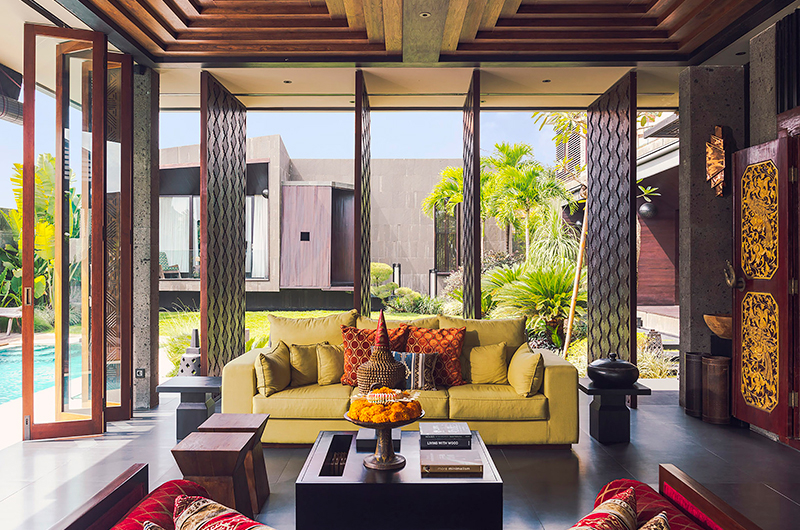 Living Area with Pool View - Villa Kayajiwa - Canggu, Bali