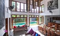 Living and Dining Area with Pool View - Villa Khaleesi - Seminyak, Bali