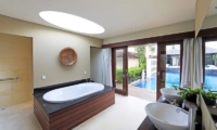 His and Hers Bathroom with Pool View - Villa M Bali Seminyak - Seminyak, Bali