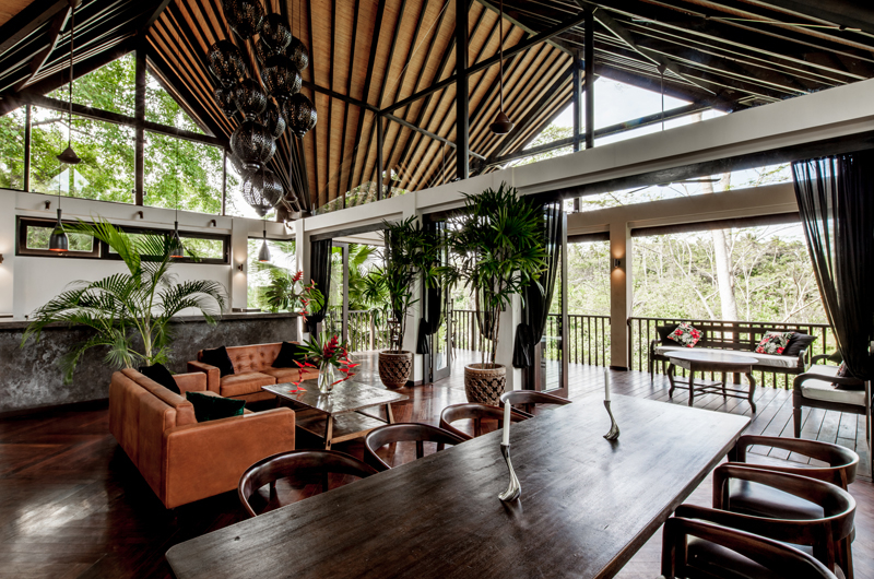 Living and Dining Area with Outdoor View - Villa Naga Putih - Ubud, Bali