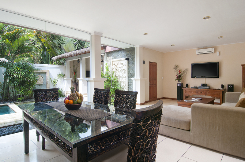 Living and Dining Area with Pool View - Villa Selasa - Seminyak, Bali