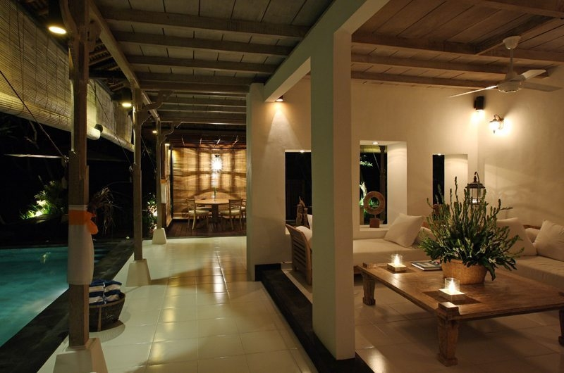 Indoor Living Area with Pool View at Night - Villa Shamballa - Ubud, Bali