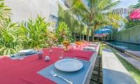 Pool Side Dining - Villa Simpatico - Seminyak, Bali