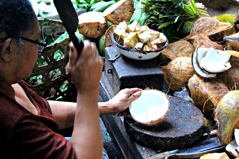 Ubud Morning Market Coconut Seller