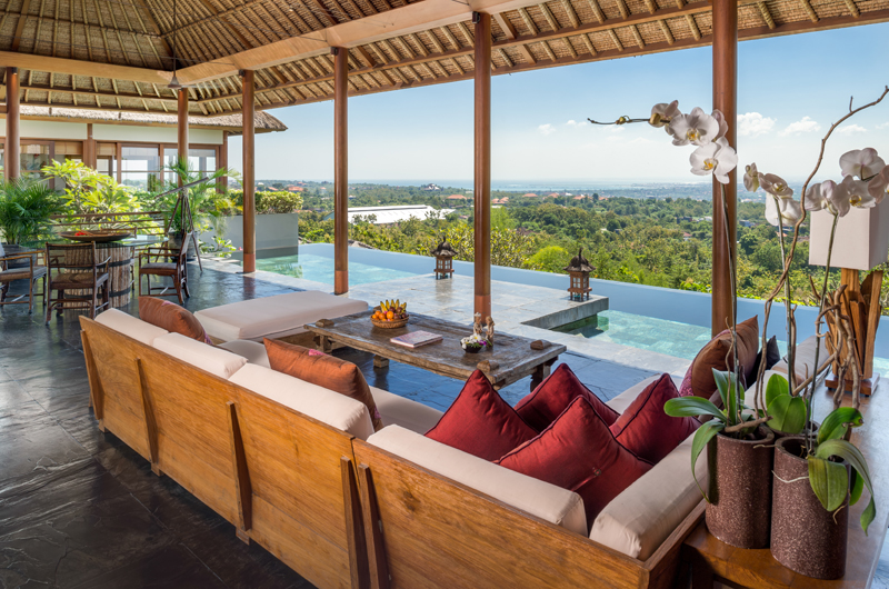 Living and Dining Area with Sea View - The Longhouse - Jimbaran, Bali