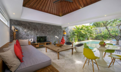 Living and Dining Area with TV - Villa Anahata - Seminyak, Bali