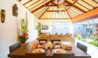 Living and Dining Area with TV - Villa Chezami - Legian, Bali
