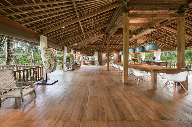 Dining Area with Wooden Floor - Villa Nag Shampa - Ubud Payangan, Bali
