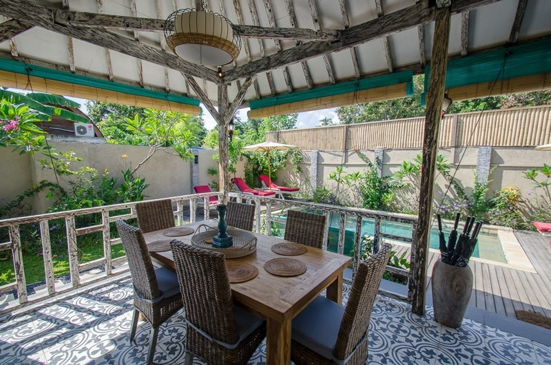 Dining Area with Garden and Pool View - Scallywags Joglo - Gili Air, Lombok