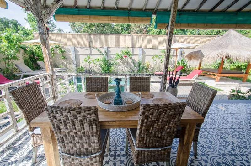 Dining Area with Pool View - Scallywags Joglo - Gili Air, Lombok