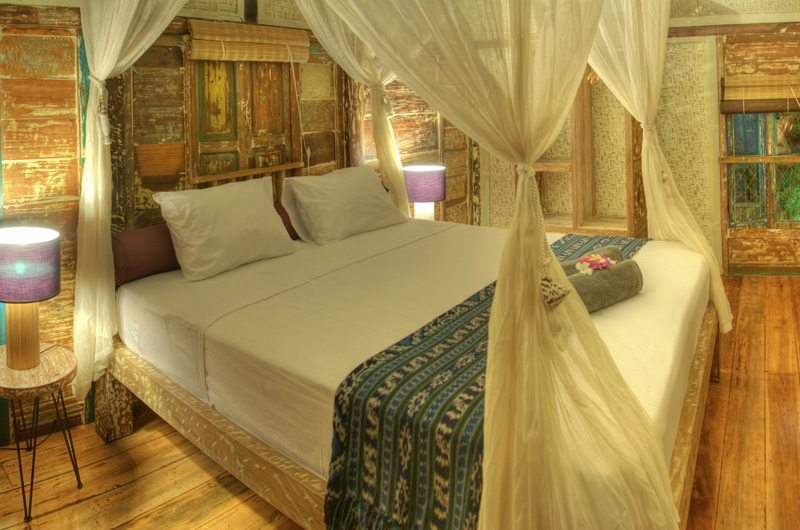 Bedroom with Wooden Floor - Villa Sama Lama - Gili Trawangan, Lombok